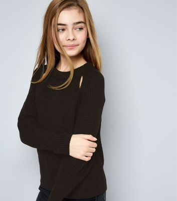 Teens Black Cut Out Front Jumper