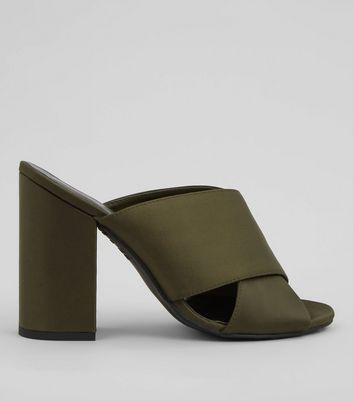 Khaki Satin Cross Strap Heeled Mules