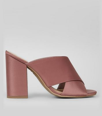 Pink Satin Cross Strap Heeled Mules