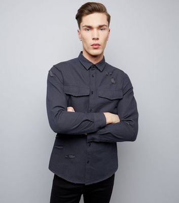 Navy Double Pocket Ripped Long Sleeve Shirt