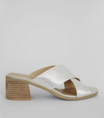 Silver Leather Cross Strap Mules