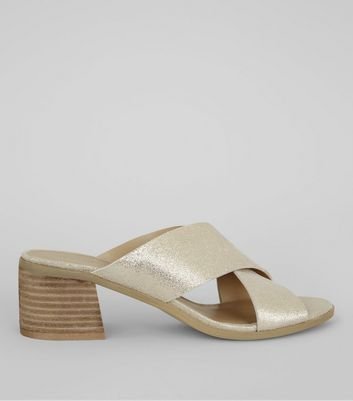 Gold Leather Cross Strap Mules
