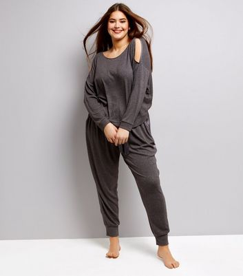 Curves Grey Brushed Jersey Sateen Trim Lounge Joggers
