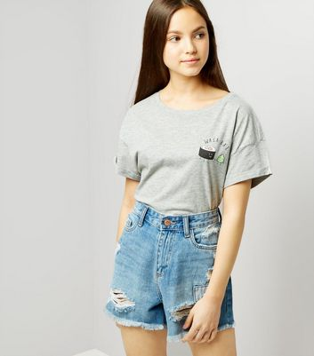 Teens Blue Ripped High Waist Denim Shorts