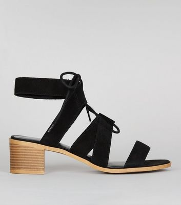 Black Suede Ghillie Block Heel Sandals
