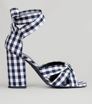 Black Gingham Tie Up Ankle Heeled Sandals