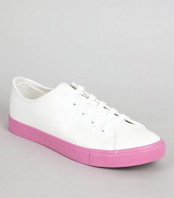 Pink Sole Contrast Lace Up Trainers