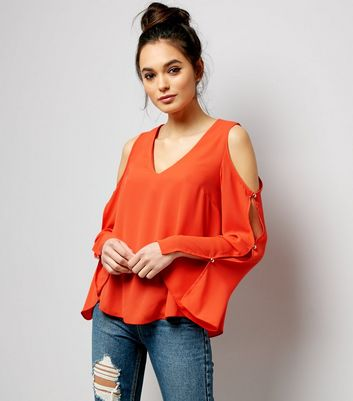 Bright Orange V Neck Cold Shoulder Top