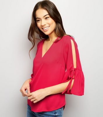 Bright Pink Cold Shoulder Tie Bell Sleeve Top