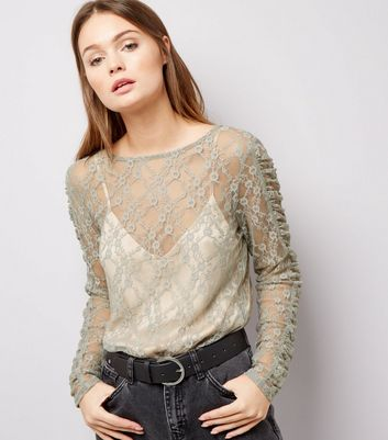 Grey Lace Ruched Sleeve Top