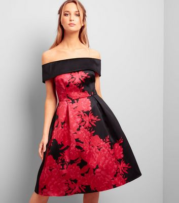 Black Floral Print Bardot Neck Satin Skater Dress