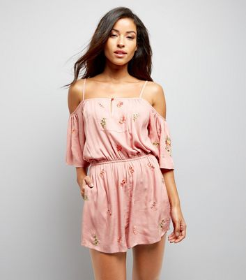 Pink Floral Embroidered Beach Playsuit