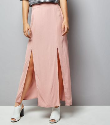 Pink Split Side Maxi Skirt