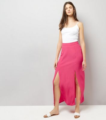 Bright Pink Split Side Maxi Skirt