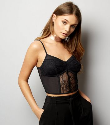 Black Mesh And Lace Longline Bralet