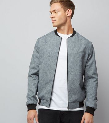 Grey Textured Contrast Trim Bomber Jackets