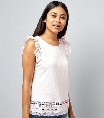Petite Pink Cut Out Lace Trim Top