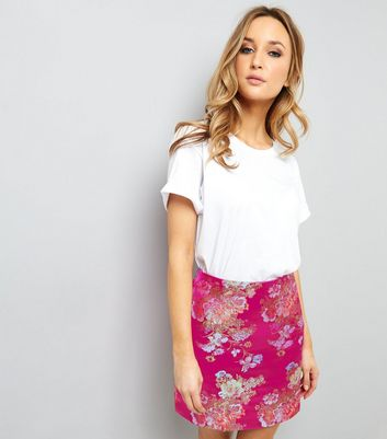 Pink Floral Jaquard Mini Skirt