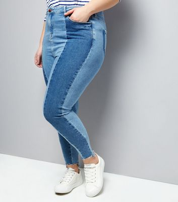 Curves Blue Two Tone Skinny Jeans