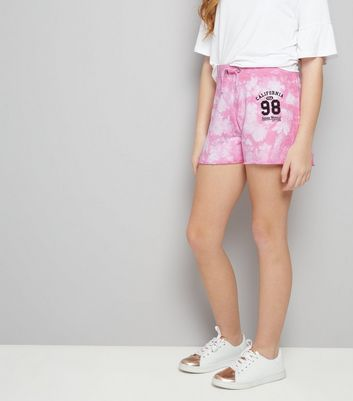 Teens Pink Tie Dye California 98 Print Shorts