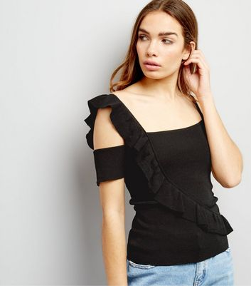 Black Frill Trim Top