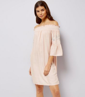 Shell Pink Embroidered Bardot Neck Beach Dress