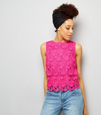 Bright Pink Lace Sleeveless Top