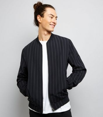 Black Stripe Bomber Jacket
