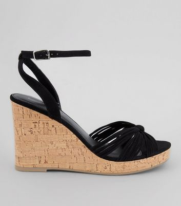 Black Suedette Knot Front Cork Wedges