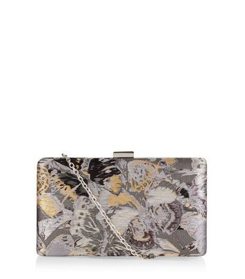 Grey Butterfly Jaquard Box Clutch