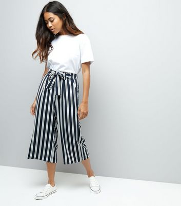 Petite Navy Stripe Tie Waist Wide Leg Cropped Trousers