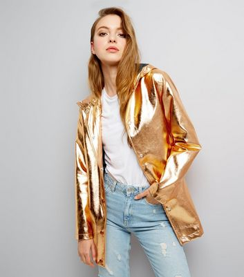 Bronze Metallic Hooded Anorak