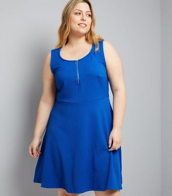 Curves Blue Zip Front Textured Skater Dress