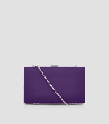 Purple Satin Box Clutch