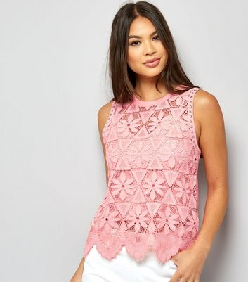 Pink Stud Trim Floral Lace Top