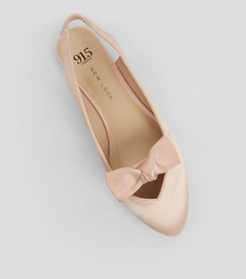 Teens Pink Sateen Bow Front Sling Backs