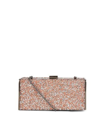 Pink Glitter Gem Box Clutch Bag