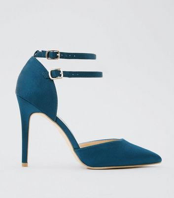 Wide Fit Blue Satin Double Strap Pointed Heels