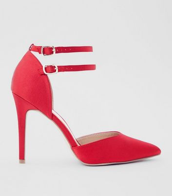 Wide Fit Red Satin Double Strap Pointed Heels