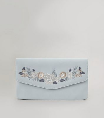 Grey Floral Embroidered Clutch