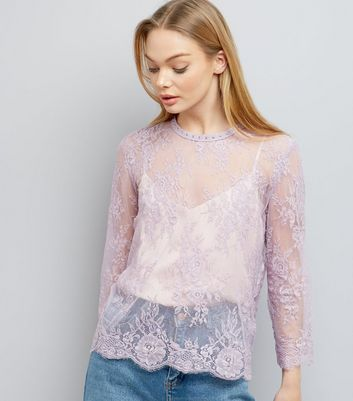 Lilac Lace Stud Trim Long Sleeve Top