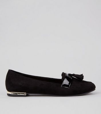 Wide Fit Black Suedette Bow Front Loafers