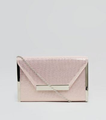 Pink Glitter Metal Trim Clutch