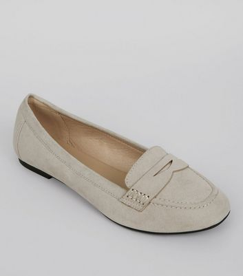 Wide Fit Grey Suedette Loafers