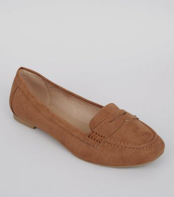 Wide Fit Tan Suedette Loafers
