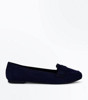Wide Fit Navy Suedette Penny Loafers