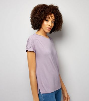 Lilac Ruched Sleeve T-Shirt