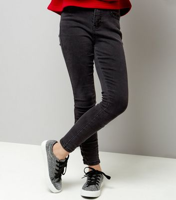 Teens Black Lace Up Hem Skinny Jeans