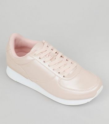Wide Fit Pink Metallic Trainers