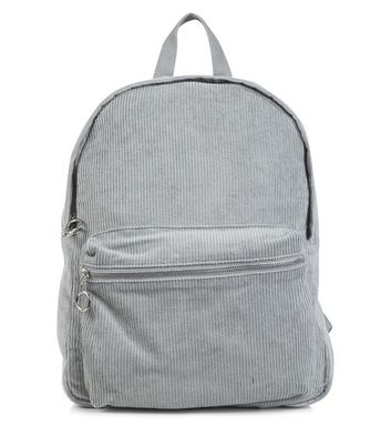 Grey Corduroy Backpack
